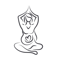 Pregnant women in yoga pose in line art style vector