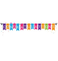 Congratulations with bunting flags vector