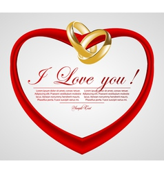 abstract heart with wedding rings vector image vector image