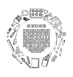 Artist tools sketch hand drawn frame vector image vector image
