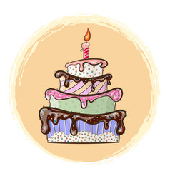 Beautiful festive cake with a candle vector