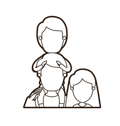 black thick contour caricature faceless half body vector image vector image