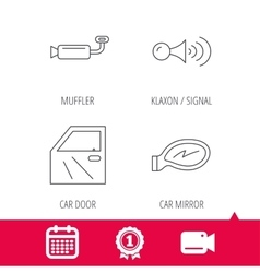 Car door muffler and klaxon signal icons vector