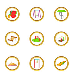 Children playground icon set cartoon style vector