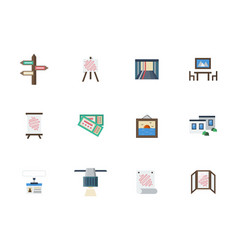 Exhibition places flat color icons set vector