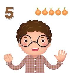 Learn number and counting number five vector