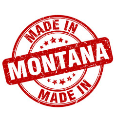 Made in montana red grunge round stamp vector
