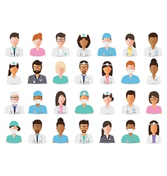 Medical and hospital staff avatars vector image vector image