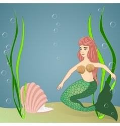 Mermaid and pearl vector image