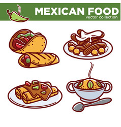 Mexican food collection of tasty spicy vector