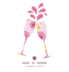 Pink field flowers toasting wine glasses vector