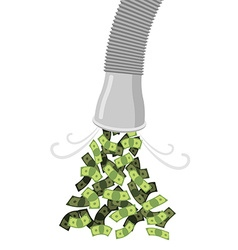 Pipe with money cash flow from tubing dollars flow vector