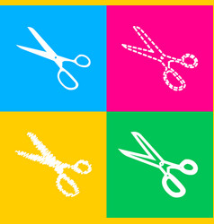 Scissors sign four styles of icon on vector