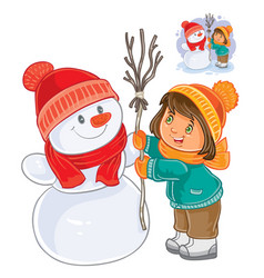 small girl mold snowman vector image