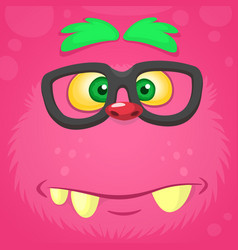 Smart pink monster face for t-shirt vector