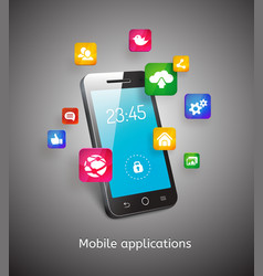 smartphone with clouds and app icons vector image vector image