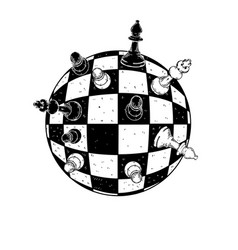 spherical chess engraving vector image