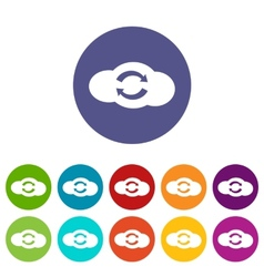 Synchronization cloud flat icon vector