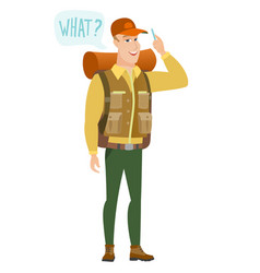 Traveler with question what in speech bubble vector