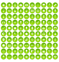 100 light icons set green circle vector