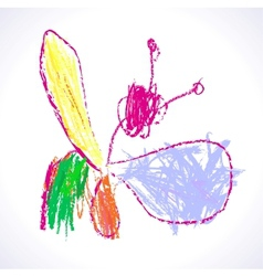 Childrens drawing butterflies vector