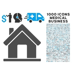 Home icon with 1000 medical business symbols vector