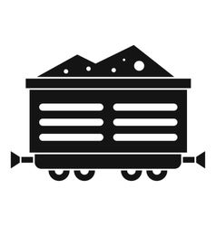 Train waggon with coal icon simple style vector