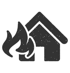 Fire damage icon rubber stamp vector