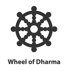 Icon of wheel of dharma symbol buddhism religion vector