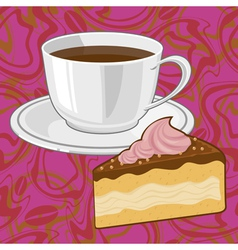 Coffee and chocolate cake vector