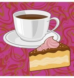 coffee and chocolate cake vector image