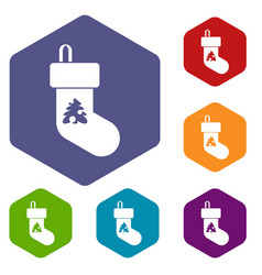christmas sock icons set vector image