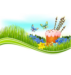 Easter cake and egg banner with copy space vector