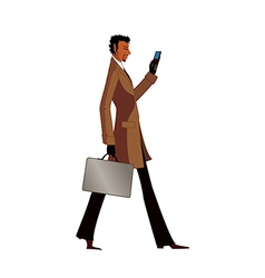 Side view of man holding mobile phone and suitcase vector