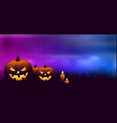 Halloween pumpkins with candles vector