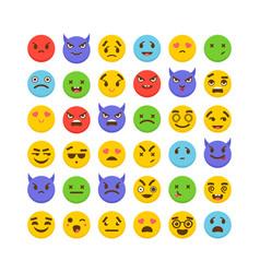 Set of emoticons kawaii cute emoji icons flat vector