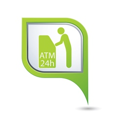 Atm icon on green map pointer2 vector