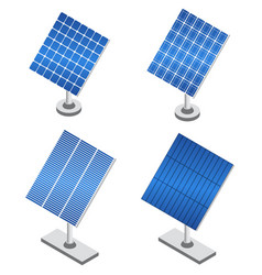 set of solar panels in isometric projection vector image
