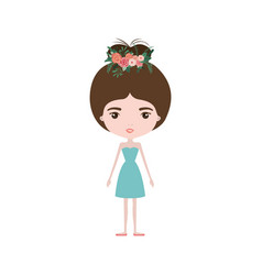 Colorful caricature skinny woman in dress with bun vector