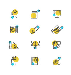 Office stationery thin line icons collection vector