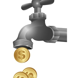 Conceptual of a tap dripping coins vector