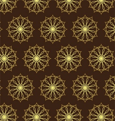 Retro gold flower and gear pattern on dark brown vector