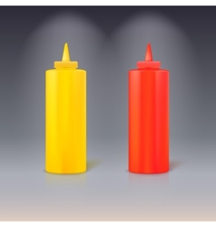 Bottles of ketchup and mustard vector