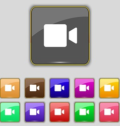 Video camera icon sign set with eleven colored vector