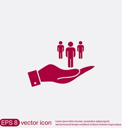 Hand holding a silhouette of a men vector