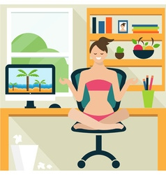 Conceptual of a girl in lotus position sitting on vector