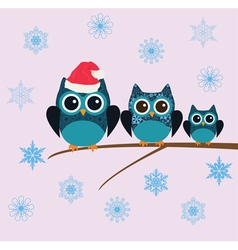Owl snow family vector