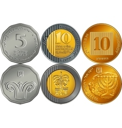 Set israeli silver money shekel coins vector