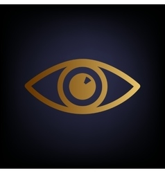 Eye sign golden style icon vector