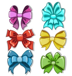 Cute cartoon bows of different shapes and colors vector